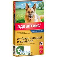 Адвантикс 400 капли от блох и клещей для собак свыше 25 кг 4 пипетки по 4мл
