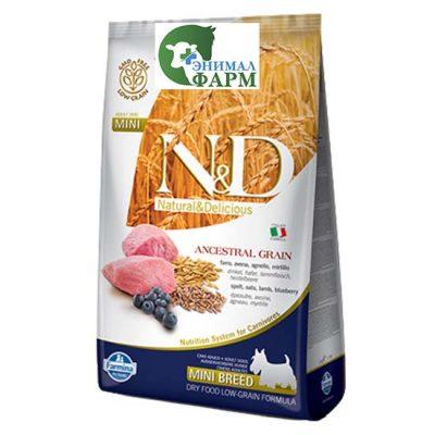 Фармина НДНЗ (Farmina N&D Low Grain Adult Mini) корм для собак мелких пород ягненок, черника 7кг
