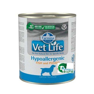 Фармина Вет Лайф (Hypoallergenic) консервы для собак гипоаллерген. рыба с картофелем 300г