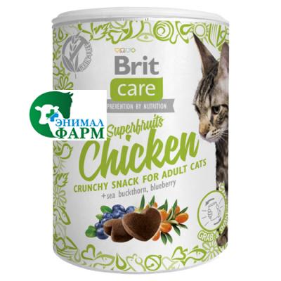 Брит (Brit) Care лакомство для взрослых кошек Superfruits Chicken Суперфрутс с курицей 100г