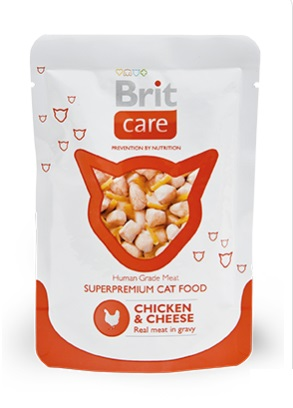 Брит (Brit Care) пауч для кошек Курица и сыр 80г