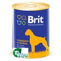 Брит (Brit) консервы для собак Говядина и печень 850г