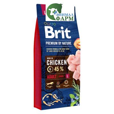 Сухой корм Brit Premium by Nature для взрослых собак крупных пород 15кг