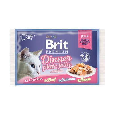 Брит (Brit Premium Dinner Jelly) набор для кошек Кусочки в желе 4 пауча по 85г
