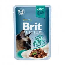 Брит (Brit Premium Gravy Beef fillets) для кошек кусочки из филе говядины в соусе, пауч 85г