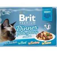 Брит (Brit Premium Gravy Dinner) набор для кошек кусочки в соусе 4 пауча по 85г