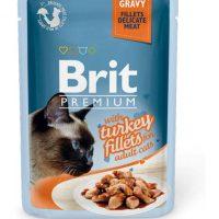 Брит (Brit Premium Gravy Turkey fillets) для кошек кусочки из филе индейки в соусе, пауч 85г
