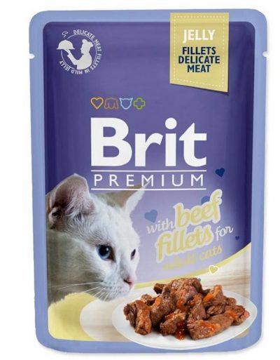 Брит (Brit Premium Jelly Beef fillets) для кошек кусочки из филе говядины в желе, пауч 85г