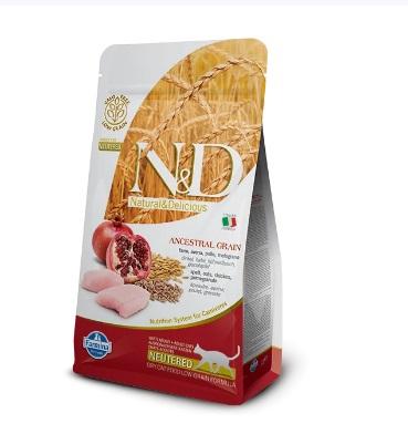 Фармина НДНЗ (Farmina N&D Low Grain Neutered) корм для кошек стерилизованных и кастрирированных курица с гранатом 1,5кг