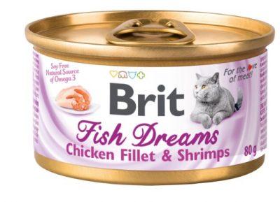 Корм влажный Brit Fish Dreams с куриным филе и креветками 80г