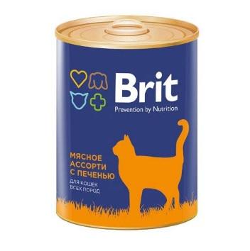 Корм влажный Brit Premium для кошек мясное ассорти с печенью 340г