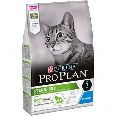 PRO PLAN Sterilised для кастрированных котов и стерилизованных кошек, кролик 3кг