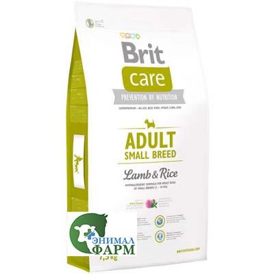 Сухой корм Brit Care для взрослых собак мелких пород ягненок с рисом 3кг