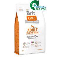 Сухой корм Brit Care для взрослых собак средних пород ягненок с рисом 3кг