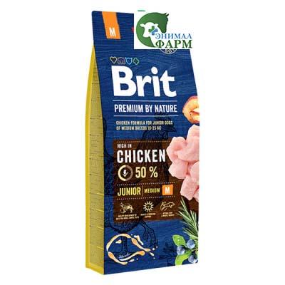 Сухой корм Brit Premium by Nature для молодых собак средних пород 15кг