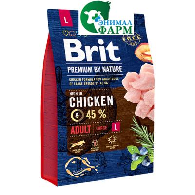 Сухой корм Brit Premium by Nature для взрослых собак средних пород 3кг