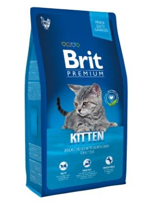 Сухой корм Brit Premium для котят с курицей в лососевом соусе 1,5кг