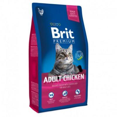 Сухой корм Brit Premium для взрослых кошек с мясом курицы и печенью 1,5кг